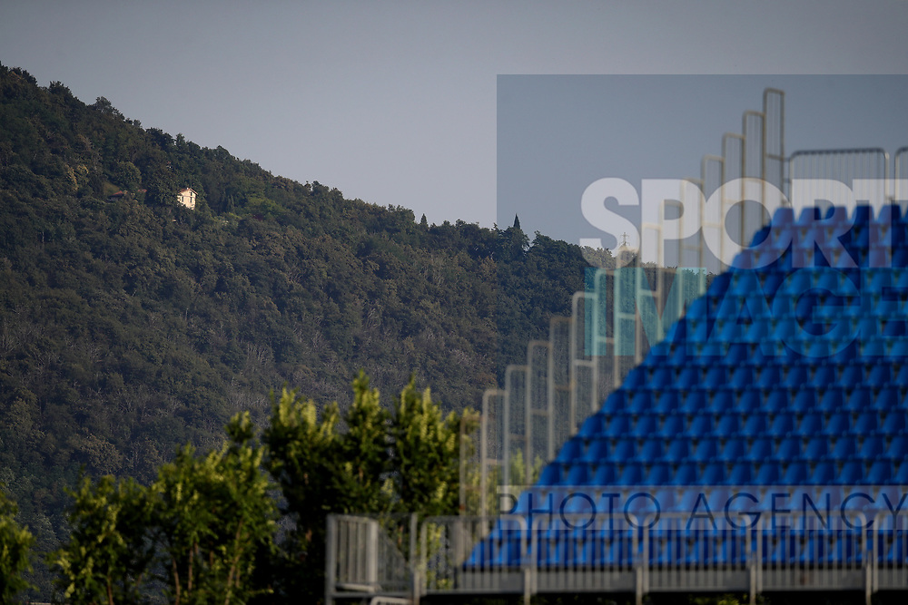 A house is seen on the mountainside behind the standsduring the Serie A match at Stadio Mario Rigamonti, Brecsia. Picture date: 27th June 2020. Picture credit should read: Jonathan Moscrop/Sportimage