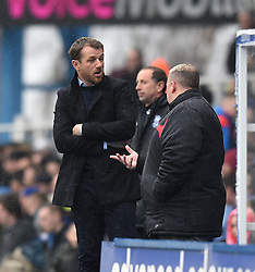 Birmingham City manager, Gary Rowett and Rotherham United manager, Steve Evans converse on the side line at St Andrew's Stadium - Photo mandatory by-line: Paul Knight/JMP - Mobile: 07966 386802 - 03/04/2015 - SPORT - Football - Birmingham - St Andrew's Stadium - Birmingham City v Rotherham United - Sky Bet Championship