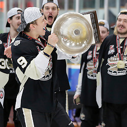 TRENTON, ON  - MAY 6,  2017: Canadian Junior Hockey League, Central Canadian Jr. &quot;A&quot; Championship. The Dudley Hewitt Cup Championship Game between The Trenton Golden Hawks and The Georgetown Raiders. Dawson Baker #9 of the Trenton Golden Hawks during post game celebrations. <br /> (Photo by Amy Deroche / OJHL Images)