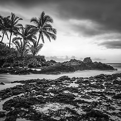 Pa'ako Cove Secret Beach Maui Hawaii black and white photo with Ahihi Bay. Also known as Wedding Beach and Makena Cove, Pa'ako Cove is a popular beach in Wailea Kihei Hawaii. Copyright ⓒ 2019 Paul Velgos with All Rights Reserved.