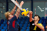 Katowice, Poland - 2017 September 03: (R) Partner Kanan Mustafayev from SO Azerbaijan spikes the ball while Third Place match between SO Azerbaijan and SO Czech Republic during European Unified Volleyball Tournament 2017 at Spodek Hall on September 03, 2017 in Katowice, Poland.<br /> <br /> Adam Nurkiewicz declares that he has no rights to the image of people at the photographs of his authorship.<br /> <br /> Picture also available in RAW (NEF) or TIFF format on special request.<br /> <br /> Any editorial, commercial or promotional use requires written permission from the author of image.<br /> <br /> Image can be used in the press when the method of use and the signature does not hurt people on the picture.<br /> <br /> Mandatory credit:<br /> Photo by &copy; Adam Nurkiewicz / Mediasport