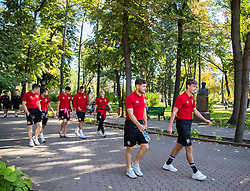 CHISINAU, MOLDOVA - Thursday, October 10, 2019: (L-R) Wales' Harry Clifton, Dan Mooney, Jack Evans, Ben Cabango, Ryan Stirk, Keiran Evans, and Robbie Burton during a team walk in Chisinau ahead of the UEFA Under-21 Championship Italy 2019 Qualifying Group 9 match between Moldova and Wales. (Pic by Kunjan Malde/Propaganda)