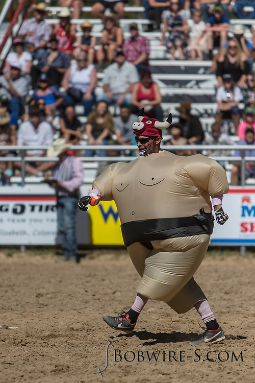 Barrelman JW Winklepleck entertains the crowd during the first performance of the Elizabeth Stampede on Saturday, June 2, 2018.