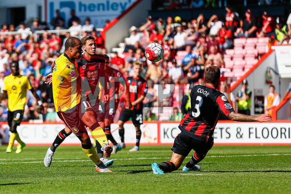 Gabriel Agbonlahor of Aston Villa shot is blocked by Steve Cook of AFC Bournemouth - Mandatory by-line: Jason Brown/JMP - Mobile 07966 386802 08/08/2015 - FOOTBALL - Bournemouth, Vitality Stadium - AFC Bournemouth v Aston Villa - Barclays Premier League - Season opener