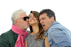 Pedro Almodovar Penelope Cruz Antonio Banderas attending the Pain and Glory Photocall during the 72nd Cannes Film Festival, Festival des Palais