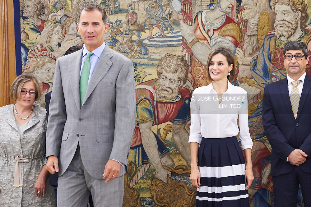 King Felipe VI of Spain and Queen Letizia of Spain attend an audience to the Plenary of the General Council of ONCE Organization at Palacio de la Zarzuela on September 2, 2015 in Madrid