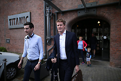 © Licensed to London News Pictures . 25/09/2016 . Liverpool , UK.  TRISTRAM HUNT leaves Peston on Sunday at The Titanic Hotel during a round of Sunday morning political interviews from the Docks in Liverpool,  on the first day of the Labour Party Conference . Photo credit : Joel Goodman/LNP