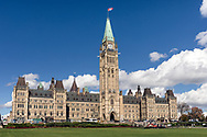 The Parliament Buildings (Centre Block) in Ottawa, Ontario, Canada. Centre Block contains the House of Commons, the Senate chambers, offices of some MP's (Members of Parliament), and administration offices.  Centre Block was completed in 1927 (construction began in 1917 after the original building burned down).  Photographed in October 2018, just before Centre Block was closed for renovations that may last 10 years.
