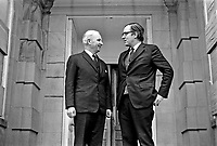 Brian Faulkner, chief minister, N Ireland Executive (left), meets the newly-appointed Secretary of State for N Ireland, Merlyn Rees on 6 March 1974. They are pictured on the steps of Stormont Castle, which was where cabinet meetings were held. 197403060022a.<br /> <br /> Copyright Image from Victor Patterson, 54 Dorchester Park, Belfast, UK, BT9 6RJ<br /> <br /> t1: +44 28 9066 1296 (from Rep of Ireland 048 9066 1296)<br /> t2: +44 28 9002 2446 (from Rep of Ireland 048 9002 2446)<br /> m: +44 7802 353836<br /> <br /> victorpattersonbelfast@gmail.com<br /> victorpatterson@me.com<br /> <br /> www.victorpatterson.com<br /> <br /> Please see my Terms and Conditions of Use at https://www.victorpatterson.com/page2<br /> It is IMPORTANT that you familiarise yourself with them.<br /> <br /> Images used on the Internet incur an additional cost and must be visibly watermarked i.e. © Victor Patterson within the body of the image and copyright metadata must not be deleted. Images used on the Internet have a size restriction of 4kbs and are chargeable at rates available at victorpatterson.com.<br /> <br /> This image is available only for the use of the download recipient i.e. television station, newspaper, magazine, book publisher, etc, and must not be passed on to any third party. It is also downloaded on condition that each and every usage is notified within 7 days to victorpatterson@me.com<br /> <br /> The right of Victor Patterson (or the named photographer) to be identified as the author is asserted in accordance with The Copyright Designs And Patents Act (1988). All moral rights are asserted.§