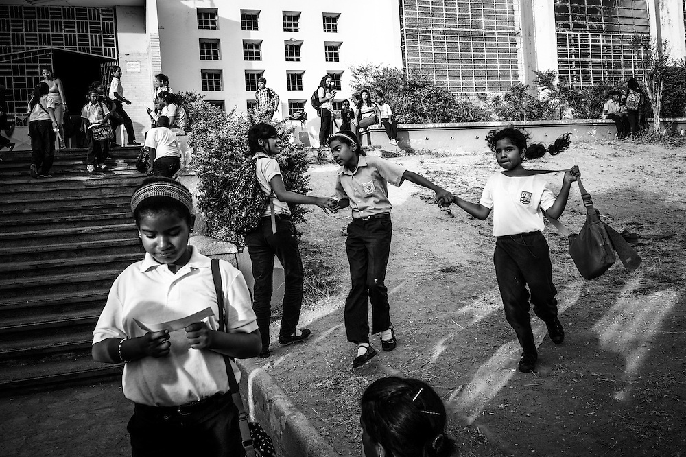 Children play at the entrance to Sarria nucleo, of the El Sistema music program in a dangerous slum in Caracas, Venezuela.
