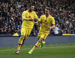 Jake Forster-Caskey of Milton Keynes Dons (L) celebrates scoring his sides first goal - Mandatory byline: Jack Phillips/JMP - 13/02/2016 - FOOTBALL - The iPro Stadium - Derby, England - Derby County v Milton Keynes Dons - Sky Bet Championship