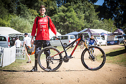 Brendan Fairclough and his Scott Genius LT, his bike of choice for the 2014 UCI Mountainbike World Cup at Pietermaritzburg, South Africa.