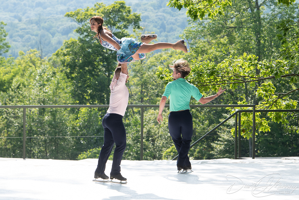 Dr. Nadine Ahmed Kerr, Aaron Gillespie, and Matej Silecky of Ice Dance International perform on the outdoor stage at Jacobs Pillow, July 2019