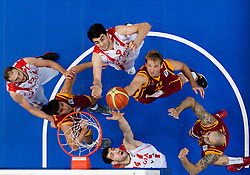 Giorgi Shermadini of Georgia and Tornike Shengelia of Georgia vs Todor Gechevski and Pero Antic of Macedonia during basketball game between National basketball teams of  Georgia and Former Yugoslav Republic of Macedonia at FIBA Europe Eurobasket Lithuania 2011, on September 8, 2011, in Siemens Arena,  Vilnius, Lithuania. (Photo by Vid Ponikvar / Sportida)
