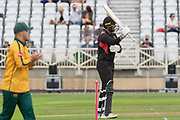 50 Aaron Lilley acknowledges the crowd on reaching 50 during the Vitality T20 Blast North Group match between Notts Outlaws and Leicestershire Foxes at Trent Bridge, West Bridgford, United Kingdon on 27 July 2019.