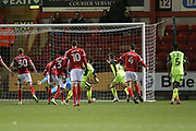 Exeter captain Jordan Moore Taylor scores an equaliser in time added on during the EFL Sky Bet League 2 match between Crewe Alexandra and Exeter City at Alexandra Stadium, Crewe, England on 20 February 2018. Picture by Graham Holt.