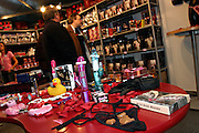 Dildos and sex toys are on sales on one of the exhibitorsí stands at the Erotica 2006 show in London, UK, on Friday, Nov. 17, 2006. Erotica is the world's largest adult lifestyle show. It attracts about 80,000 visitors every year with its over 150 retailer exhibitors, dazzling and decadent transvestite cabaret shows, fun foreplay seminars, beautiful lingerie collections, art and fetish demonstrations. **Italy Out**