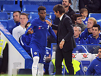 Football - 2017 / 2018 EFL (League) Cup - Third Round: Chelsea vs. Nottingham Forest<br /> <br /> Dujon Sterling of Chelsea gets encouragement from manager Antomio Conte as he prepares to come on to make his debut at Stamford Bridge.<br /> <br /> COLORSPORT/ANDREW COWIE