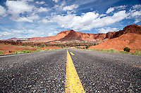 The scenic highway 24 cruises through Capitol Reef National Park in Utah