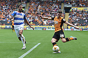 Andrew Robertson crosses ball during the Sky Bet Championship match between Hull City and Queens Park Rangers at the KC Stadium, Kingston upon Hull, England on 19 September 2015. Photo by Ian Lyall.