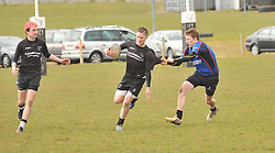 Get a Grip.... Westport's Tim Costigan tries to hold up Connemara Brian Regan during the Under 16 Cup final...Pic Conor McKeown