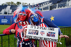 Auchterarder, Scotland, UK. 12 September 2019. Final practice day for the 2019 Solheim Cup before the official opening saw many patriotic fans arrive on the course at Gleneagles. Pictured; Team USA fans Shirley Gallagher from Fort Lauderdale , Florida (l) and Barbara Gutstadt from Charlotte in striking patriotic fancy dress.  Iain Masterton/Alamy Live News