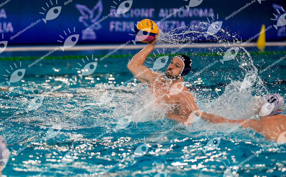 2 Constantine KUBADA CAN <br /> FINA Men's Water polo Olympic Games Qualifications Tournament 2016<br /> Final 5th place<br /> Netherlands NED (White) Vs Canada CAN (Blue)<br /> Trieste, Italy - Swimming Pool Bruno Bianchi<br /> Day 08  10-04-2016<br /> Photo L.Binda/Insidefoto/Deepbluemedia