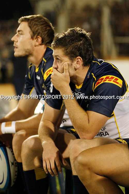 Dejected Brumbies Ian Prior after their game at Baypark Stadium, Mt Maunganui, New Zealand. Friday,16 March 2012. Photo: Dion Mellow/photosport.co.nz