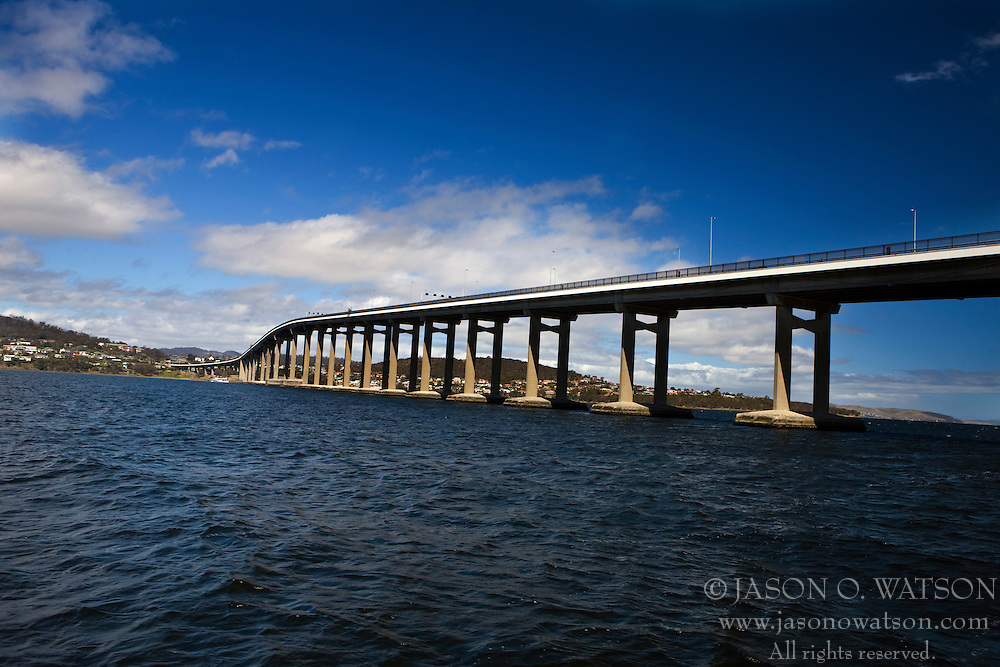 The Tasman Bridge, spanning the Derwent River, Hobart, Tasmania, Australia