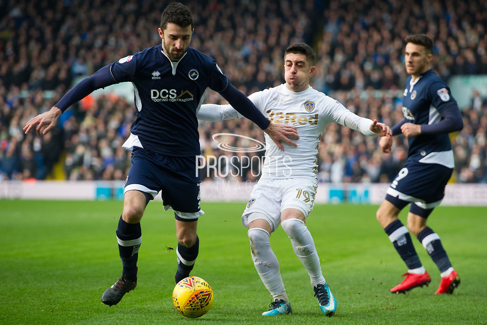 Millwall Defender Conor McLaughlin holds back Leeds United Midfielder Pablo Hernandez during the EFL Sky Bet Championship match between Leeds United and Millwall at Elland Road, Leeds, England on 20 January 2018. Photo by Craig Zadoroznyj.