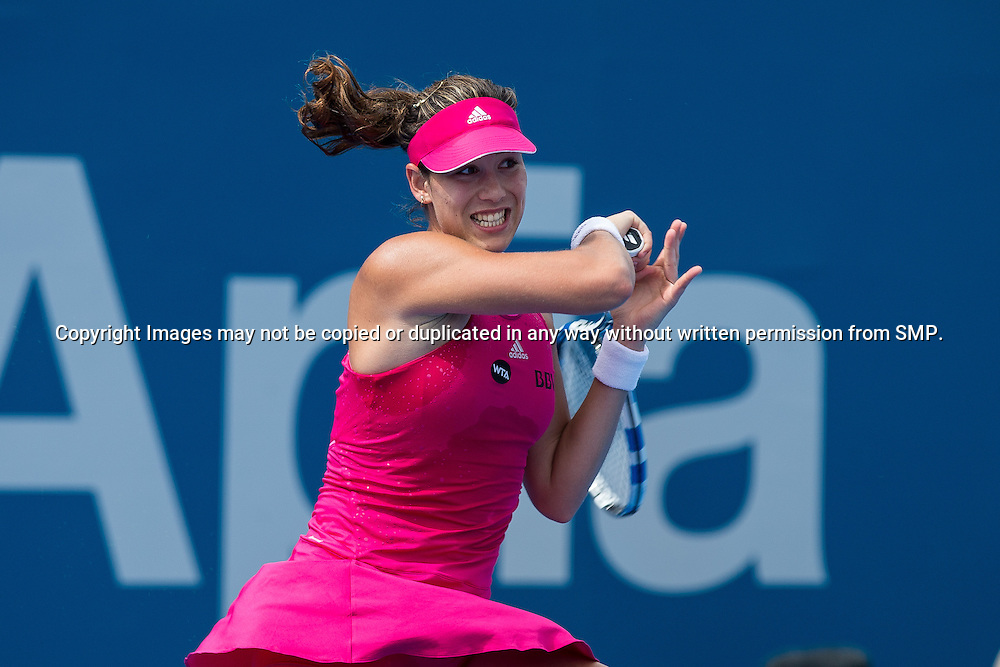 GARBINE MUGURUZA (ESP) during Day 3 of the 2015 Apia Sydney International played at Sydney Olympic Park Tennis Centre, Sydney, Australia, Tuesday, 13 Jan 2015. Photo: Murray Wilkinson (SMP Images).