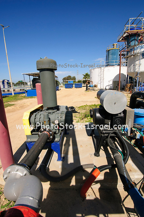 water pumps at the Sewerage treatment facility. The treated water is then used for irrigation and agricultural use. Photographed near Hadera, Israel