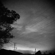 Late night suburban sky with powerlines, Wollongong, Australia.
