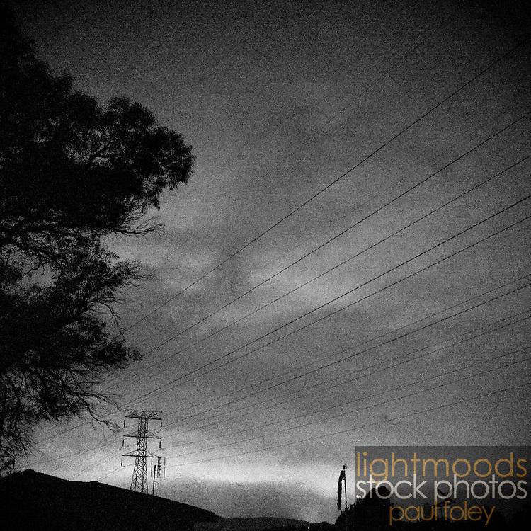 Late night suburban sky with powerlines, Wollongong, Australia.