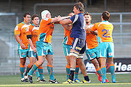 Eben Etzebeth and WP Nel tussle during the DHL Pre-Season Series match between The Stormers and the Cheetahs held at Newlands Rugby Stadium in Newlands, Cape Town on the 4th February 2012.Photo by Ron Gaunt/SPORTZPICS