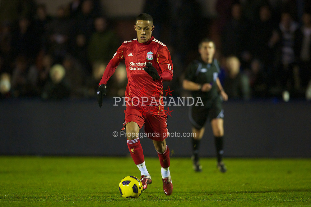 MANCHESTER, ENGLAND - Wednesday, January 19, 2011: Liverpool's Thomas Ince in action against Manchester City during the Lancashire Senior Cup Quarter-Final match at Ewen Fields. (Photo by David Rawcliffe/Propaganda)