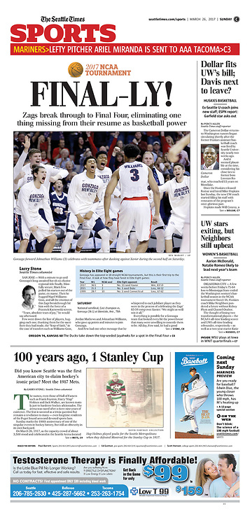 "The Seattle Times, Sports, March 26, 2017, Sunday, ""Final-ly!"""
