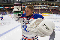PENTICTON, CANADA - SEPTEMBER 17: Dylan Wells #30 of Edmonton Oilers cools down after warm up against the Calgary Flames on September 17, 2016 at the South Okanagan Event Centre in Penticton, British Columbia, Canada.  (Photo by Marissa Baecker/Shoot the Breeze)  *** Local Caption *** Dylan Wells;