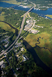 Interstate 95 crosses the Lieutenant River and then the Connecticut River in Old Lyme, Connecticut.  Aerial.