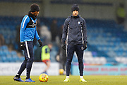 Gillingham players during the warm up during the EFL Sky Bet League 1 match between Gillingham and Wycombe Wanderers at the MEMS Priestfield Stadium, Gillingham, England on 15 December 2018.