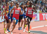 Athletics - 2017 IAAF London World Athletics Championships - Day Two (AM Session)<br /> <br /> Event: Mens 800m - Round 3<br /> <br /> Ferguson Cheruiyot Rotich (KEN) leads the field into the home straight <br /> <br /> <br /> COLORSPORT/DANIEL BEARHAM