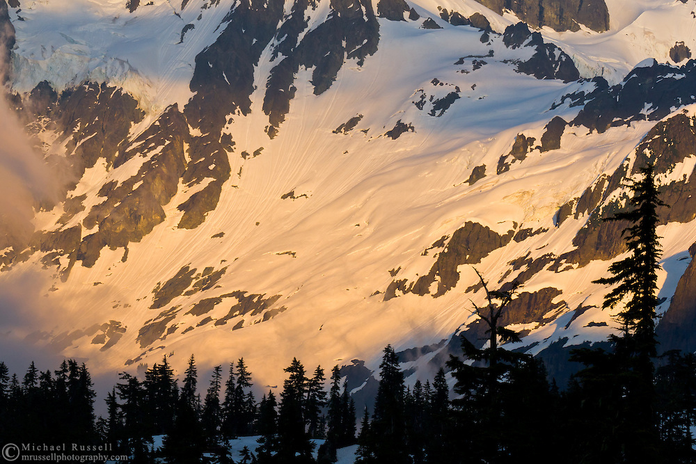 Alpenglow and the White Salmon Glacier on Mount Shuksan from Heather Meadows in the Mt. Baker-Snoqualmie National Forest – Washington State..