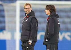 LEICESTER, ENGLAND - Monday, February 1, 2016: Liverpool's manager Jürgen Klopp inspects the pitch with assistant manager Zeljko Buvac before the Premier League match against Leicester City at Filbert Way. (Pic by David Rawcliffe/Propaganda)
