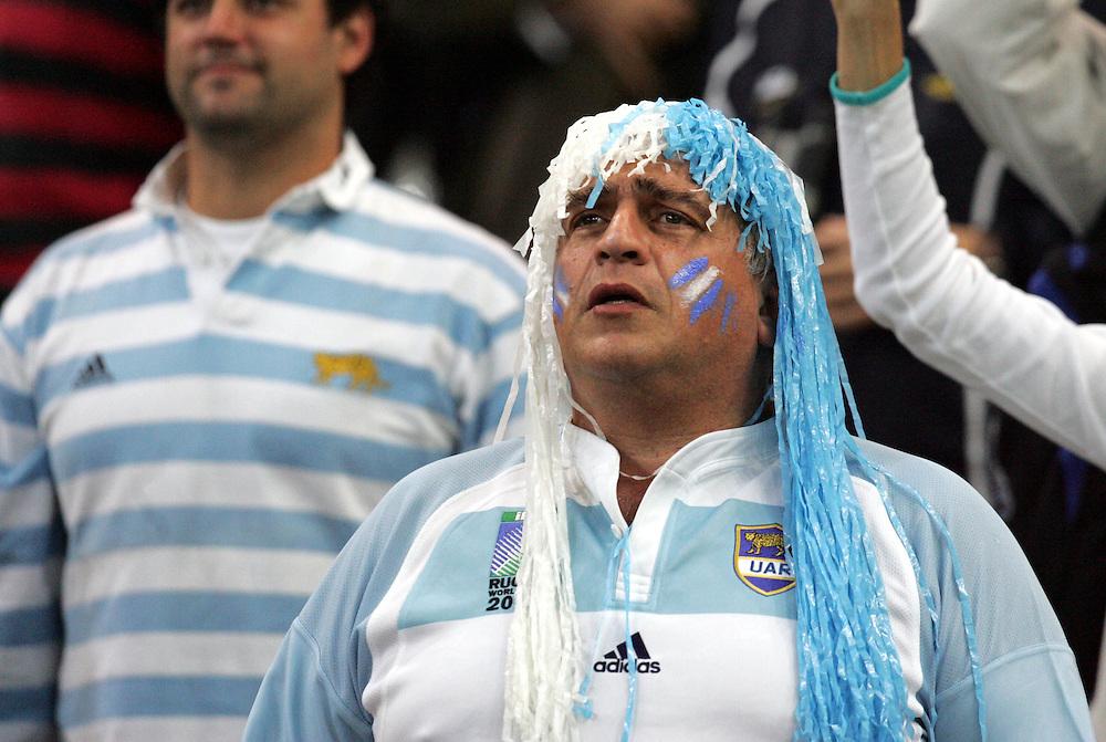 An Argentinian fan wears a wig. Argentina v Scotland (19 - 13) Stade de France, St Dennis, 07/10/2007, Quarter Final Match 44. Rugby World Cup 2007..