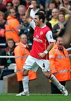 Photo: Tom Dulat/Sportsbeat Images.<br /> <br /> Arsenal v Manchester United. The FA Barclays Premiership. 03/11/2007.<br /> <br /> Arsenal's Cesc Fabregas scelebrates his goal. 1-1