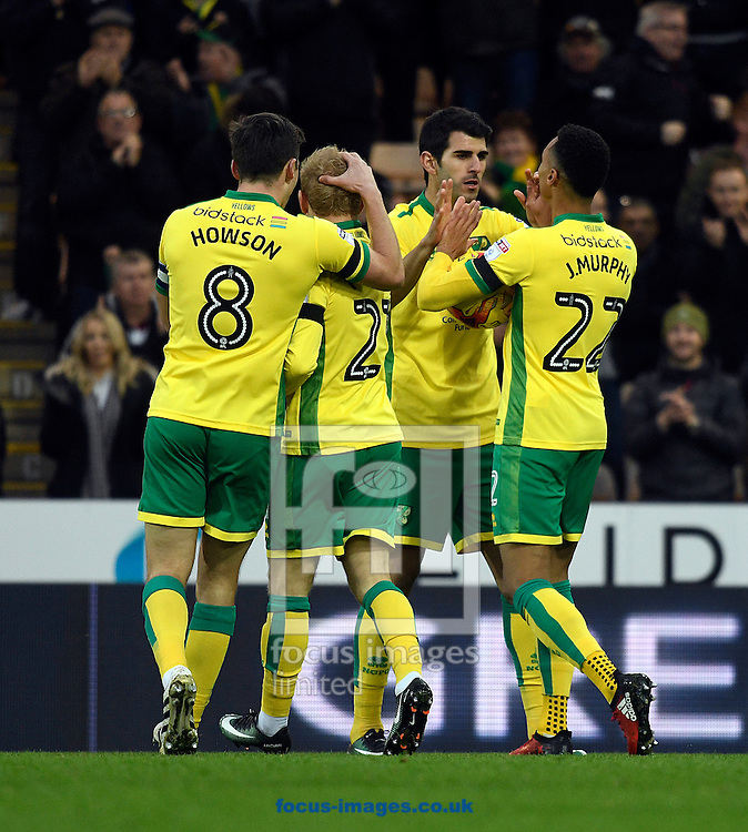 Norwich City players celebrate the games first goal by Jacob Murphy verses Brentford during the Sky Bet Championship match at Carrow Road, Norwich<br /> Picture by Matthew Usher/Focus Images Ltd +44 7902 242054<br /> 03/12/2016