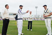 Captains James Vince of Hampshire & James Franklin of Middlesex at the toss under the watch of umpires Rob Bailey & Jeremy Lloyds the Specsavers County Champ Div 1 match between Hampshire County Cricket Club and Middlesex County Cricket Club at the Ageas Bowl, Southampton, United Kingdom on 14 April 2017. Photo by David Vokes.