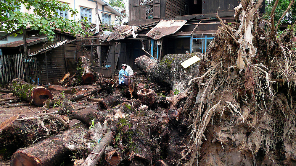 Villager trying to remove the huge tree that fell on their home in the aftermath of the cyclone Nargis. They have not received any support for the reconstruction of their home.