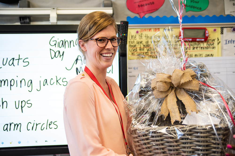 Fourth-grade ELA teacher Julianne DeLay was surprised by Achieve 180 Area Superintendent Felicia Adams as the Sterling McCall VIP Services Teacher of the Month for March.