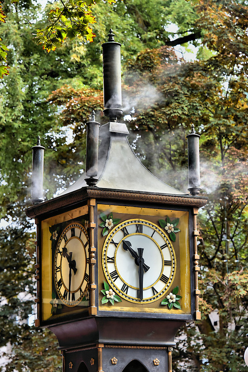 Gastown Steam Clock in Vancouver, Canada<br /> Most famous landmarks that attract gawking tourists are old, but not the Gastown Steam Clock in downtown, Vancouver.  It was built in 1977 by the local merchants as part of the revitalization of the city&rsquo;s first neighborhood.  Most appealing is the clouds of bellowing steam, the whistle that announces the hour, and the Westminster Quarters tune that is played on the quarter hour.  Its mechanism of balls and chains is complicated but visible through the glass-enclosed body of the clock.